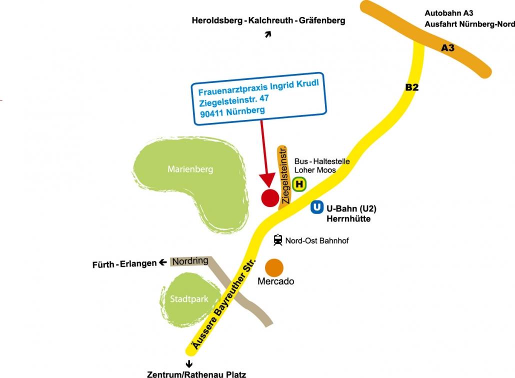 Anfahrtsplan Praxis I. Krudl Nürnberg